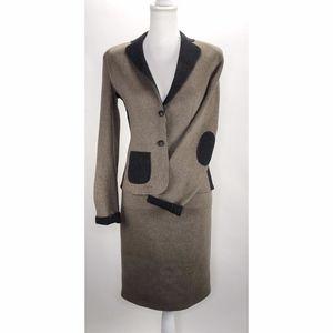 Les Copains Gray Brown Suit 2pc Set